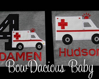 Ambulance Birthday Shirt, Sibling Ambulance Shirt, Brother Shirt or Bodysuit, Sister Shirt, Custom, Any Age