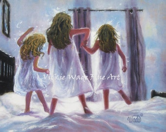 Three Sisters Jumping On Bed Art Print, three girls bedroom pink wall art decor, best friends, three daughters, mother gift, Vickie Wade art