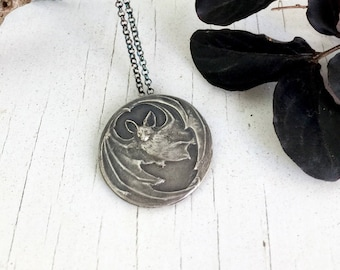Victorian Silver Bat Necklace, Memento Mori
