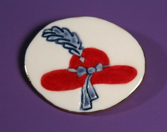 Red Hat Brooch Handmade Porcelain Jewlery Pin By Linda Cain