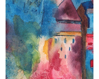 CASTLE TOWER ABSTRACT Colorful Watercolor Giclee Print Unframed Double Mat Matted