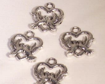 Set of 4 silver 20x15mm doves and heart charms