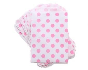 Party Favor Bag, Paper Favor Bags, Pink Polka Dot Paper Favor Bags, 1st Birthday Party Favor, Bridal Shower Favors, Sweet 16 Favors, Wedding