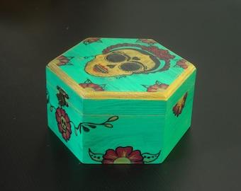 Frida Kahlo quote, Frida Kahlo calavera, wooden box, jewel case
