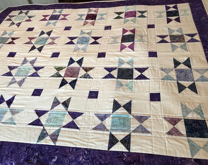 Quilted Ohio Star Lap Quilt