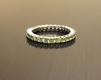 Peridot Eternity Engagement Band - Peridot Eternity Band - Peridot Wedding Band - Eternity Peridot Band - Peridot Silver Wedding Band