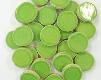 LIME GREEN CIRCLE 1 inch Mosaic Tiles - High Fired - Non Textured