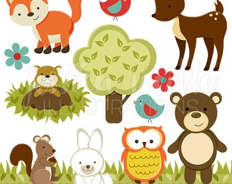 Forest Friends Cute Digital Clipart - Commercial Use OK - Woodland Animals Clipart, Forest Animals Graphics, Forest Animal Clipart