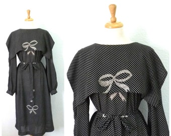Vintage 70s dress Polka dot Bow print Midi dress\ Chez California Designed by Tandy Large / X Large