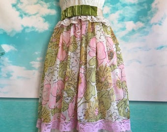 pink olive & ecru floral organza hi low boho bridesmaid dress by mermaidmisskristin