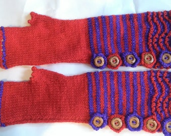 Hand knitted elbow length fingerless gloves. Purple and red glitter sparkle wool.  Unique.