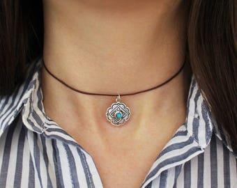 Boho Choker, Turquoise Choker Necklace, Boho Jewelry,
