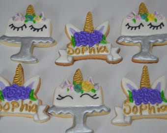 Unicorn Banner and cake Cookie