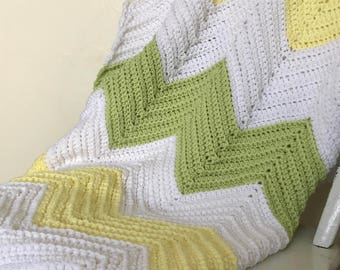 Chevron Blanket- Green, Yellow, Gender neutral