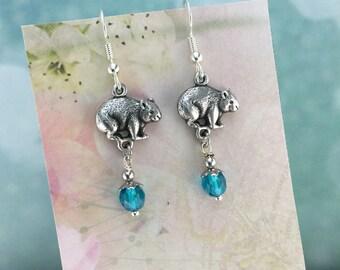 Wombat Australian Souvenir Earrings, Blue Crystal, Australian Made Jewellery Gift, Australian Earrings, Australian Jewellery