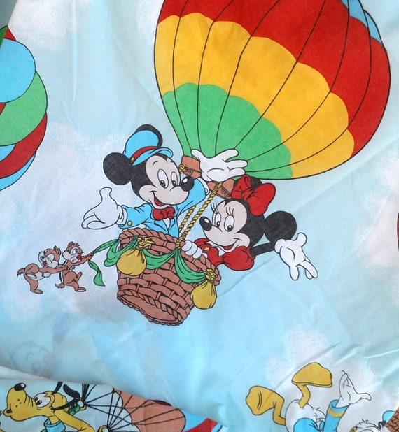 Set of 2 Vintage Disney Twin Flat Sheets featuring Rainbow Balloons and Classic Disney Characters