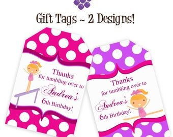 Gymnastic Gift Tags - Bright Purple and Pink Polka Dots, Cute Girl Gymnast Personalized Birthday Party Gift Tags - A Digital Printable File