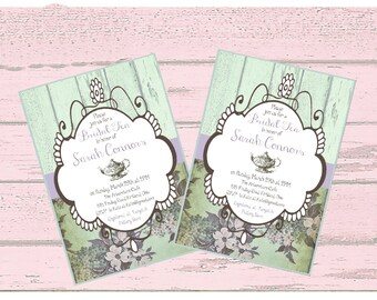 Tea Party Invitation, Printable Custom  Invitation, Baby Shower, Bridal Shower, Bridal Tea Invitation, invitation
