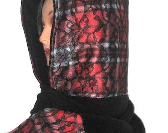 handmade hood. hoodie, hooded scarf. scoodie. scoody, lace, black, fleece, red