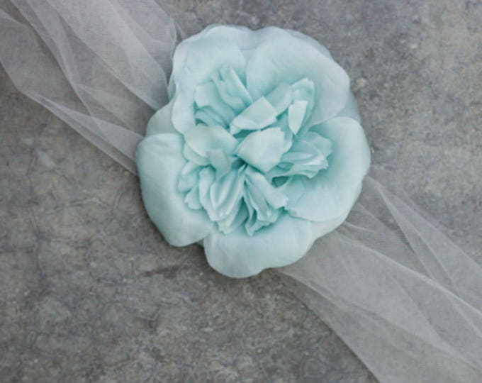 Ivory Tulle Ribbon Belt Sash with Pale Blue Hand Cut Flower Handmade 259