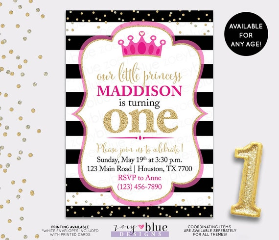 Hot Pink Princess Birthday Invitation Black White Fuchsia Gold Jpg 570x489