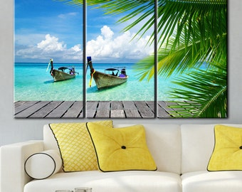 Wooden boats, Tropical Nature, Wooden canoe, Wooden boat print, Tropical print, Tropical wall art, Tropical beach art, Tropical beach print