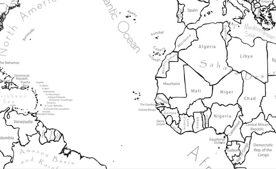 World map coloring page labeled world map a4 and 85x11 inch this is a digital file gumiabroncs Gallery