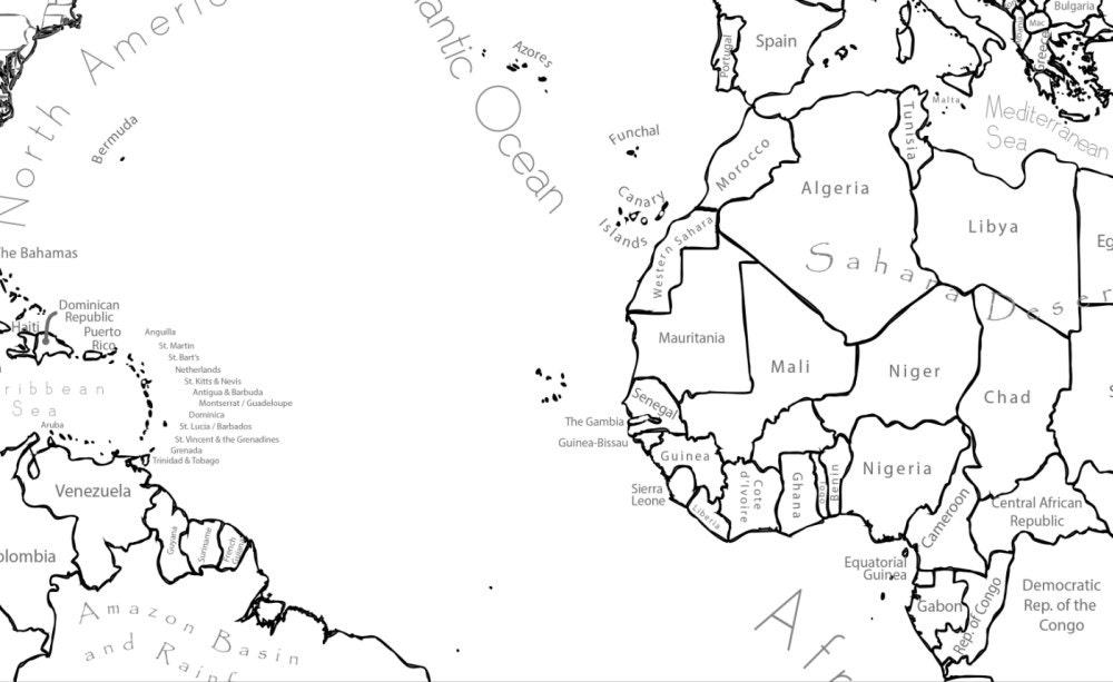 World Map Coloring Page, Labeled World Map A4 and 8.5x11