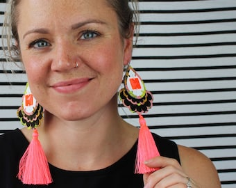 TASSEL EARRINGS in FLUORO coral.  Oversize, statement earrings cut from recycled, floral print fabric. Holiday jewellery. festival fashion