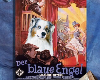 Australian Shepherd Art, Poster, Canvas Print, Aussie Postcards, Aussie Vinyl Sticker, Dog Portrait - The Blue Angel Movie Poster