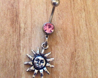 Sun Belly Ring Sun Gypsy Belly Ring Boho Belly Rin Sun Rays Belly Ring Good Vibes Naval Tribal Belly Ring