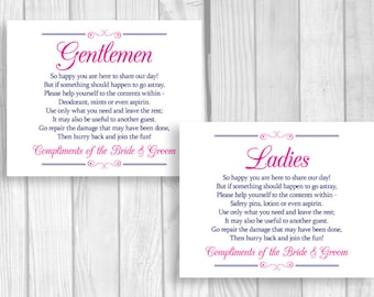 SALE Printable 8x10 Navy Blue and Hot Pink Wedding Reception Womens and Mens Restroom Signs - Bathroom Basket Signs - Instant Download