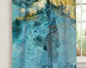 "Abstract art window curtain in aqua, yellow and tan, 50""x84"" blackout drapery panel, rod pocket curtain, living room decor, Sea and Sand"