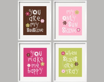 Kids Wall Art You Are My Sunshine Prints 8x10 in chocolate, pink, raspberry and lime green, Cocalo's Taffy, YassisPlace FRAMES NOT INCLUDED