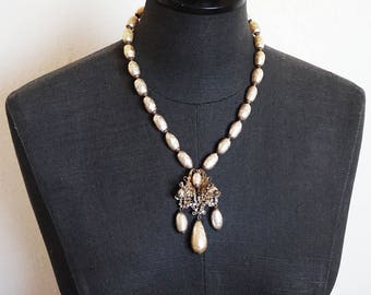 Miriam Haskell Baroque Pearl Antiqued Gold Tone and Rhinestone Pendant Necklace