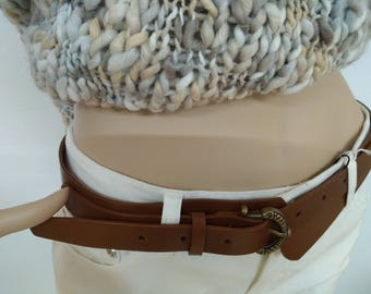 Leather belt to measure, women's belt, full leather, cognac color, custom according to specified waist circumference