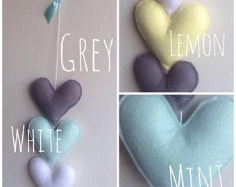 Grey & Mint Heart Garland