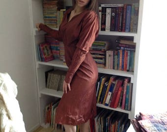 Handmade Vintage 1940's Rose Brown Taffeta Dress