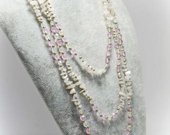 Pink Quartz Natural Gemstone Jewelry Beaded Layered Statement Multistrand Necklace Stone Pale Pink Chips Rose Quartz Necklace Easter gift