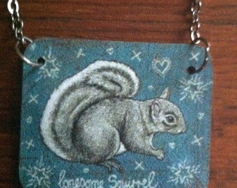 Squirrel necklace // This Lonesome Squirrel is so cute!
