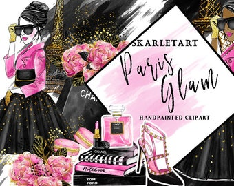 Fashion Clipart Watercolor Clipart Paris  Clipart Girl Fashion Illustration Planner Cover Bridal Party Floral Girly Planner Supplies DIY