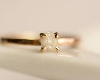 Rough Diamond Engagement Ring. Raw Diamond Ring. White Diamond Ring. Raw White Diamond Ring. Rose Gold Diamond Engagement Ring.