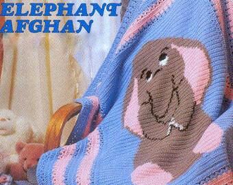 Vintage Crochet Pattern PDF Baby Elephant Afghan Baby Pram Cover Cot Blanket