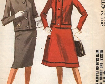 """Vintage 1960s McCall's Sewing Pattern 6476 - Misses' Two - Piece Suit size 16 bust 36"""""""
