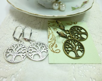 Tree of Life Earrings in Antique Silver or Antique Bronze Open Circle Tree of Life Earrings Tree of Life Jewelry Family Tree Earrings