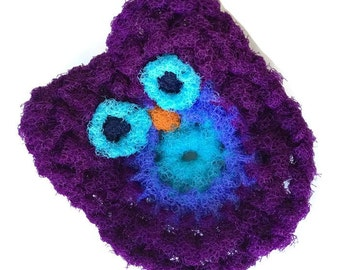 Owl Dish Scrubbies, 2 Through 6 Purple Crochet Scrubbie, Kitchen Dish Scrubber, Pot Scrubber, Handmade Scrubber, Kitchen Scrubbie, Gift