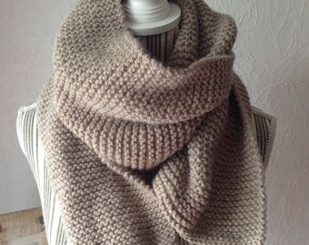 Taupe wool and alpaca hand knitted scarf