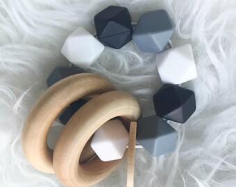 Baby Teether Wooden Teethers Infant Rattles Silicone Teether Silicone Rattle Double Ring Teether Silicone Bead Teether Monochrome Teether Ba