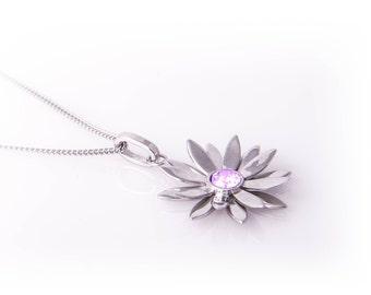 Flower Charm with Purple Stone in Sterling Silver - Jewelry Gift Idea - Flower Pendant - Silver Flower - Flower Gift -