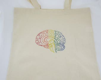 Brainbow Embroidered Tote Bag